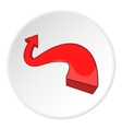 Red curved arrow icon cartoon style vector image vector image