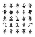 robotics solid icons vector image