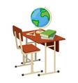 school desk with school supplies icon and logo vector image vector image
