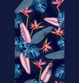 seamless pattern tropical leaves with bird vector image