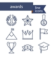 Set of line icons for award success and victory vector image