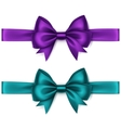 Set of Purple Satin Bows and Ribbons on Background vector image vector image
