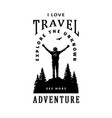 silhouette a traveler on a background vector image