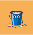 smiling cute overflowing trash can with multicolor vector image