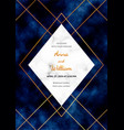 wedding invitation card with marble frame golden vector image