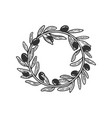 wreath olive branches sketch vector image