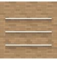 Empty wooden shelf for exhibit on brick wall vector image
