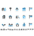 simple blue color real estate icons set vector image