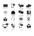 set contact with reflection icons vector image