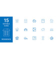 15 residence icons vector image vector image