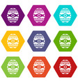 beautiful easter egg icon set color hexahedron vector image vector image