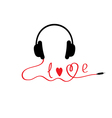 Black and red headphones White background Love vector image vector image