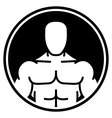 Bodybuilder symbol in black circle vector image vector image