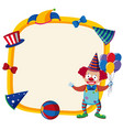 border template with happy clown and balloons vector image