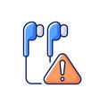 broken earphones rgb color icon vector image