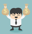 Businessman holds bags money vector image vector image