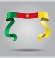 cameroon flag wavy ribbon background vector image