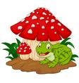 Cartoon frog basking under mushrooms