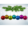 Christmas balls with fir branches vector image vector image