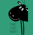 christmas greeting card with funny moose vector image