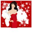 christmas lady vector image vector image