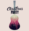 christmas party guitar calligraphic retro poster vector image