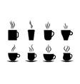 coffee cups icon silhouette hot tea latte vector image