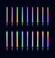 collection of colorful isolated glowing sabers vector image vector image