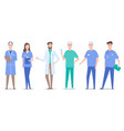 collective doctors and nurses characters set vector image vector image