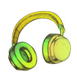 color listening audio device wireless headphones vector image vector image
