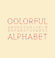 colorful regular font alphabet vector image