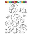 coloring book flamingo theme 2 vector image vector image