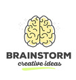creative brain with text on white backgro vector image vector image