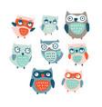cute cartoon owls collection vector image vector image