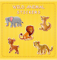 cute cartoon wild animals on stick vector image vector image