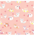cute fox seamless pattern pink background vector image vector image