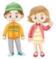 cute girl and boy in winter clothes vector image vector image