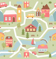 cute town or village houses childish seamless vector image vector image