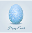 easter card with pale blue pastel easter egg vector image vector image