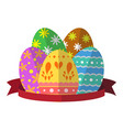 egg easter with ribbon vector image