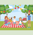 family in the tablecloth and fun picnic recreation vector image