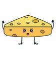 fresh cheese piece kawaii character vector image