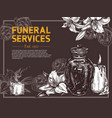 funeral service hand drawn design poster vector image vector image