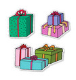 gift boxes cartoon stickers set presents isolated vector image vector image