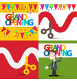 Grand opening flat design set with colorful flags