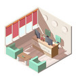 hotel reception hall interior isometric vector image vector image