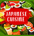 japanese cuisine sushi chopsticks and sauce vector image