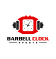 logo sports barbell watch vector image