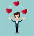 man juggling hearts vector image