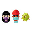 medical professionals and a virus icon set 4 vector image vector image